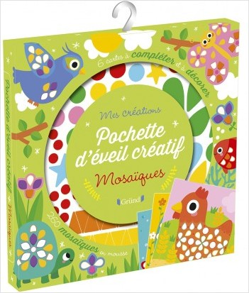 Pochette d'éveil créatif : Mosaïques – Pochette avec  6 cartes, 260 mosaïques et un guide – À partir de 3 ans