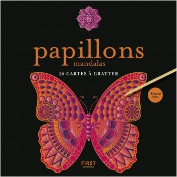 Papillons mandalas - 10 cartes à gratter