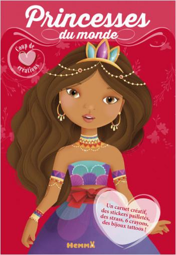 Coup de coeur créations - Princesses du monde - Kit avec stickers et crayons pour habiller et colorier les modèles - dès 4 ans