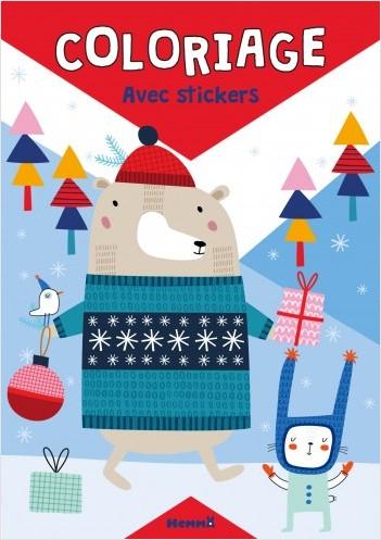 Coloriage avec stickers (Noël) Ours